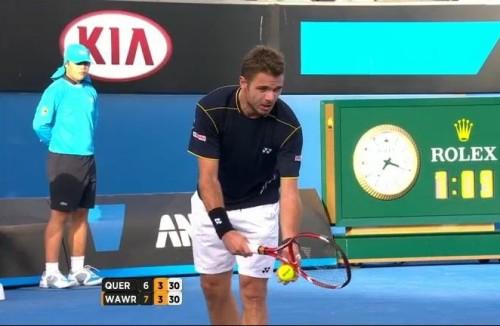 Australian Open Stan Wawrinka serve motion service black white shorts photos images screencaps pictures