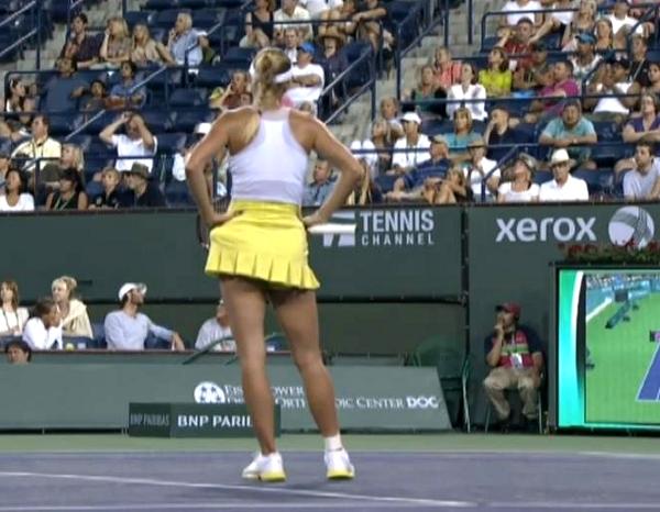Caroline Wozniacki screencaps images photos Brazil exo hands on hips sassy stance HawkEye replay