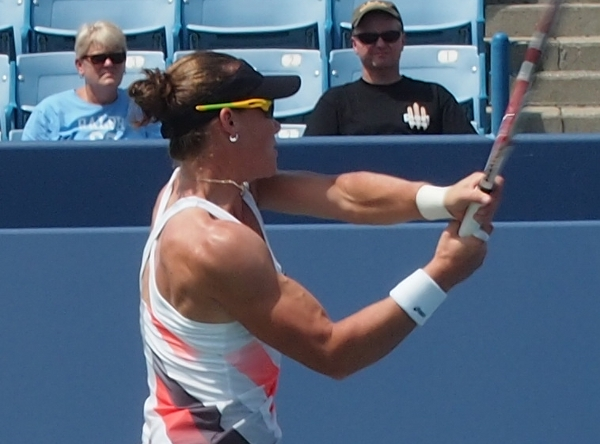 Samantha Sam Stosur big arms muscles sleeveless dress visor sunglasses Cincinnati Open 2012 by Valerie David pictures photos images