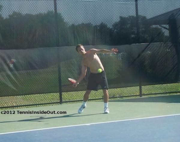 Philipp Kohlschreiber shirtless forehand black shorts tennis pics