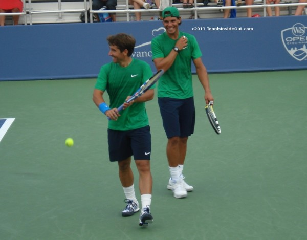 Rafael Nadal Marc Lopez Cincinnati Western and Southern Open Masters 2011 doubles green shirts matching cute smiles hot photos pictures images screencaps
