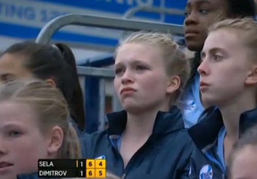 Worried blonde ball girl Grigor Dimitrov match 2013 photos