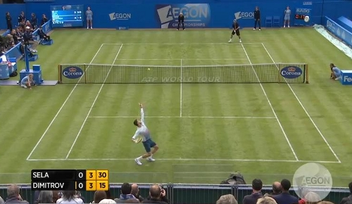 Queens Club Grigor Dimitrov Dudi Sela grass courts Grisha serve service motion photos pictures white long sleeves images screencaps