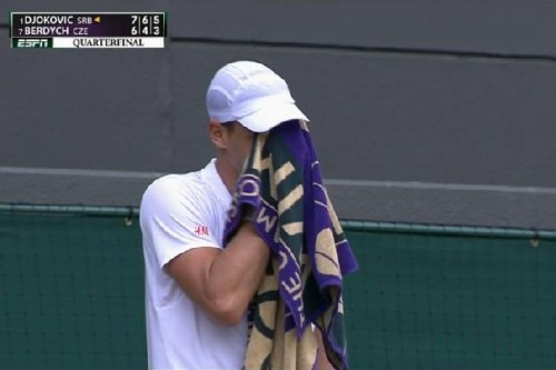 Tomas Berdych face in towel facepalm loss to Djokovic Wimby