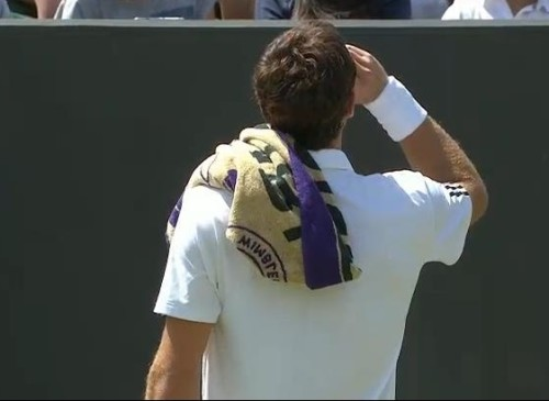Ernests Gulbis Ernie drinking on court back towel Wimbledon pictures