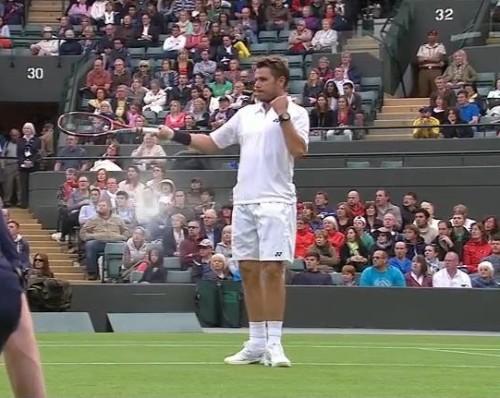 Wimbledon Stan Wawrinka pointing with racquet miming expressive wrist watch Hewitt match pictures screencaps