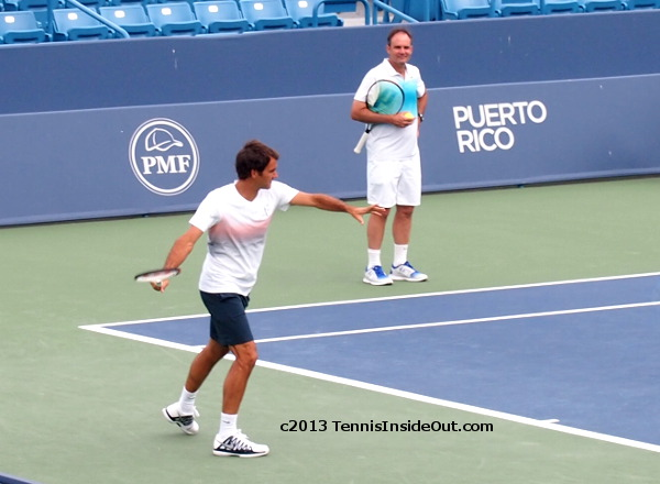 Roger Federer secret practice session Center Court Cincinnati Open 2013
