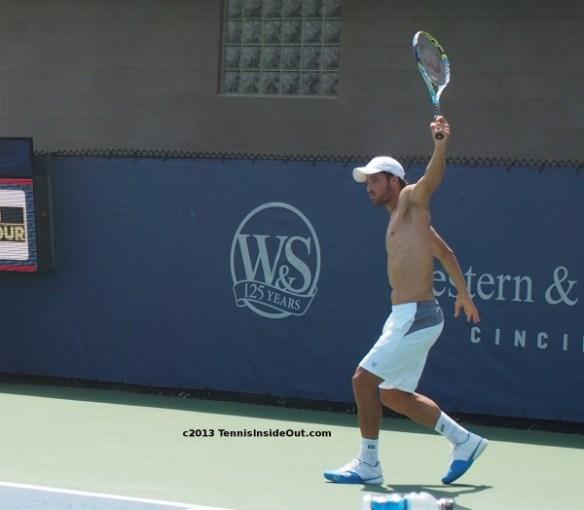 Cincinnati Open Masters practice Feliciano Lopez backhand swing shirtless pecs chest nude