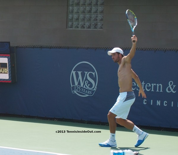 Cincinnati Open Masters practice Feliciano Lopez backhand swing shirtless pecs chest nude