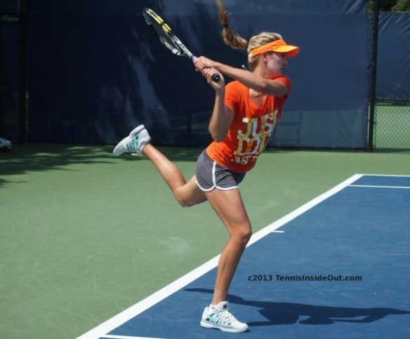 Eugenie Bouchard pretty girl flying ponytail blonde backhand swing leap hot legs