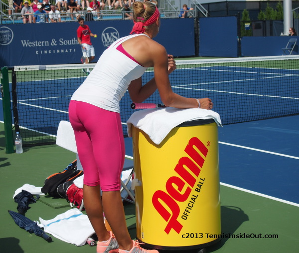 Yanina Wickmayer bum butt ass shots bent over tight bright pink pants leggings photos Cincinnati 2013