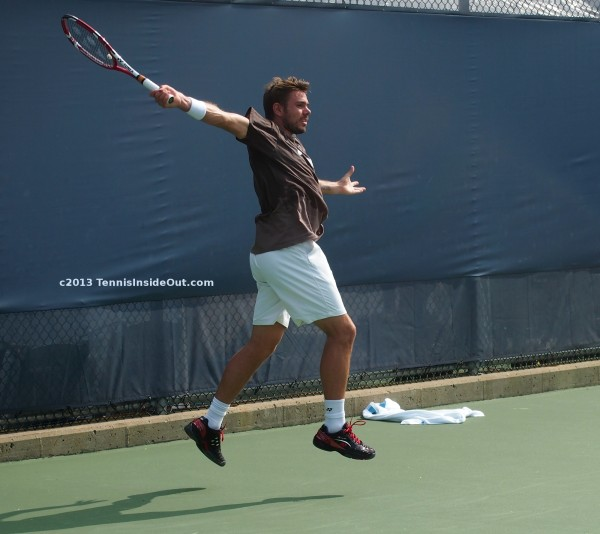 Stanislas Wawrinka Stan the Man flying one handed backhand airborne practice pics Cincinnati US Open Masters Slam semis sweaty sexy hot Stanley pics