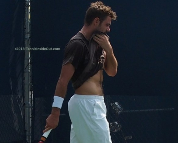 Stan Wawrinka nude naked tummy abs muscles shirtless sweaty wiping white shorts great ass butt curves furry tattoo abdomen ribs treasure trail Cincinnati practice 2013