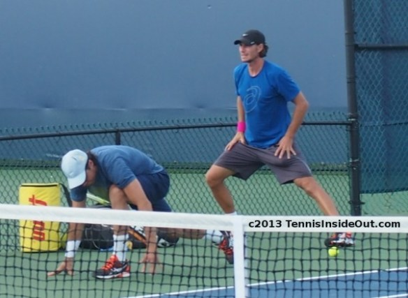 Tommy Haas Christian Groh sex poses crouching lunging stretching exercises Western and Southern Open practice