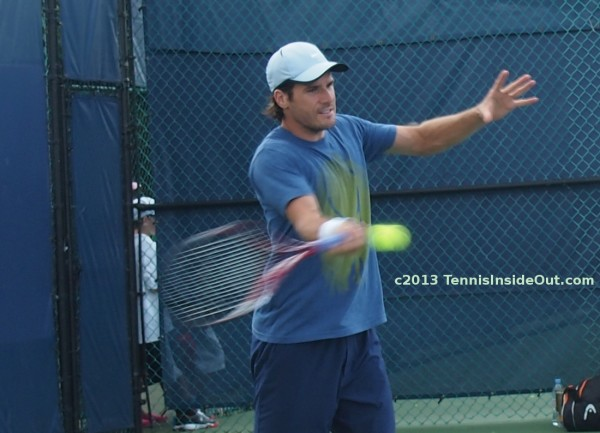 Tommy Haas powerful forehand smiling return tennis ball racquet Cincy photos