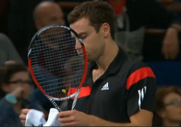 Ernests Gulbis Ernie puffed up cheeks water raquet towel Paris Bercy Masters screencaps pictures images photos