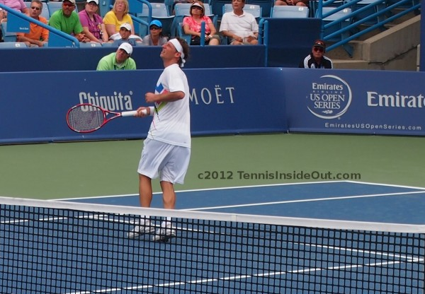 David Nalbandian waiting for smash volley at net Cincinnati Open Masters match Haas 2012 pictures photos