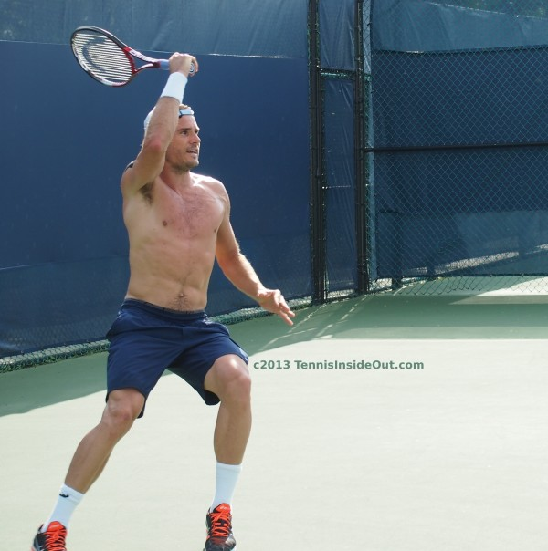 Big overhead forehand windshield wiper forehand swing shirtless muscular Tommy hairy chest strong pecs hot legs pictures