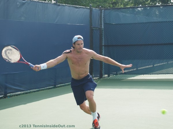 Tommy Haas running forehand arms stretch bare chest shirtless sweaty sexy practice Cincy 2013