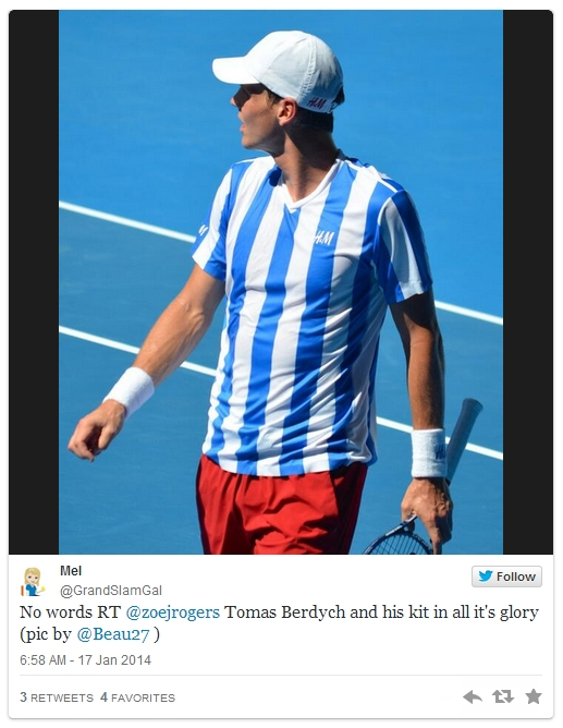 Tomas Berdych blue white stripes red shorts white cap photos kit pictures