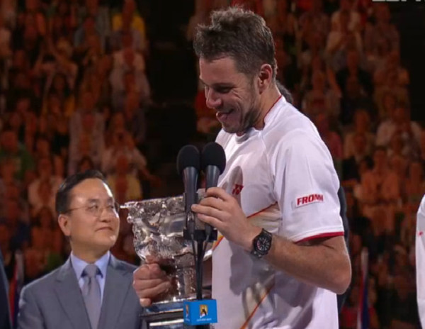 Stanislas Wawarinka Australian Open Champion 2014 happy smiling trophy ceremony pictures images photos screencaps