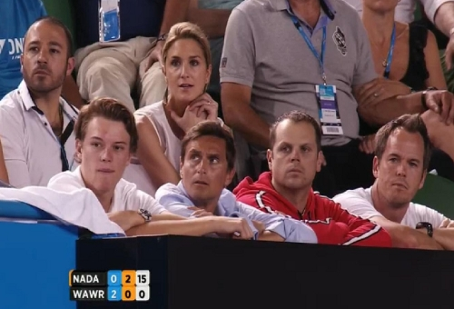 Stan's team with disappointed and questioning looks during Nadal final lull in level eventual Australian Open Slam win
