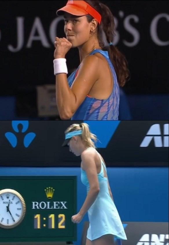 Ana Ivanovic Maria Sharapova  fistpumps fist clenched little hands blue dress Australian Open 2014