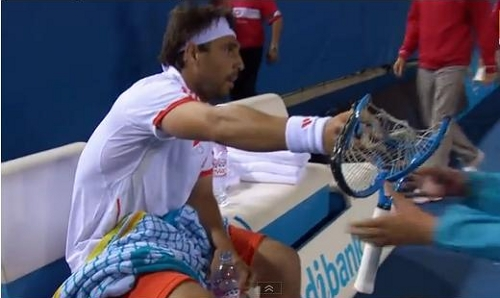 Marcos Baghdatis handing smashed racquet to ballkid Australian Open destroys four racquets pictures video