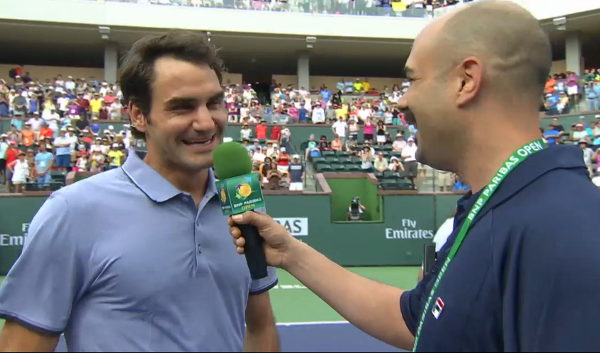 Roger Federer giggling smack talk Indian Wells sweaty sexy lavender polo