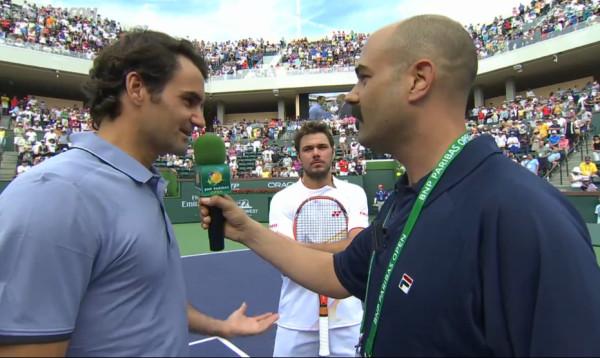 Stan Wawrinka glaring Roger Federer