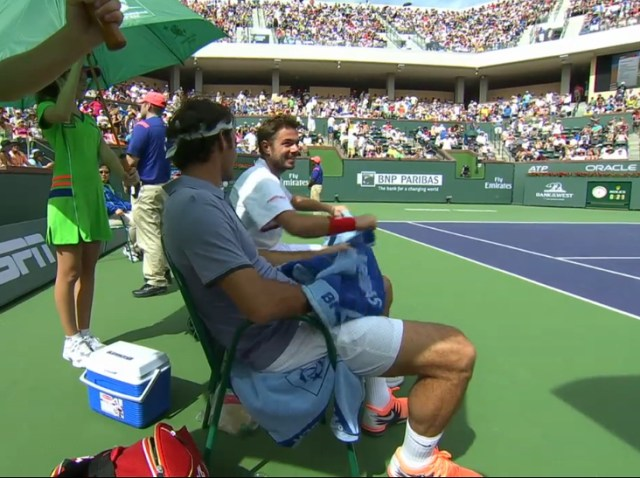 Stan Rog giggle changeover doubles 1st round IW 2014
