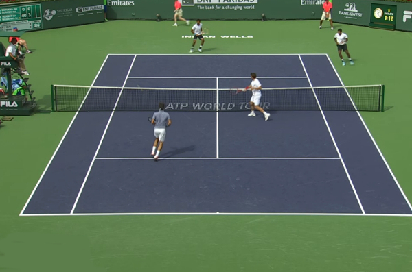 Stan volley Roger doubles 1st round IW 2014