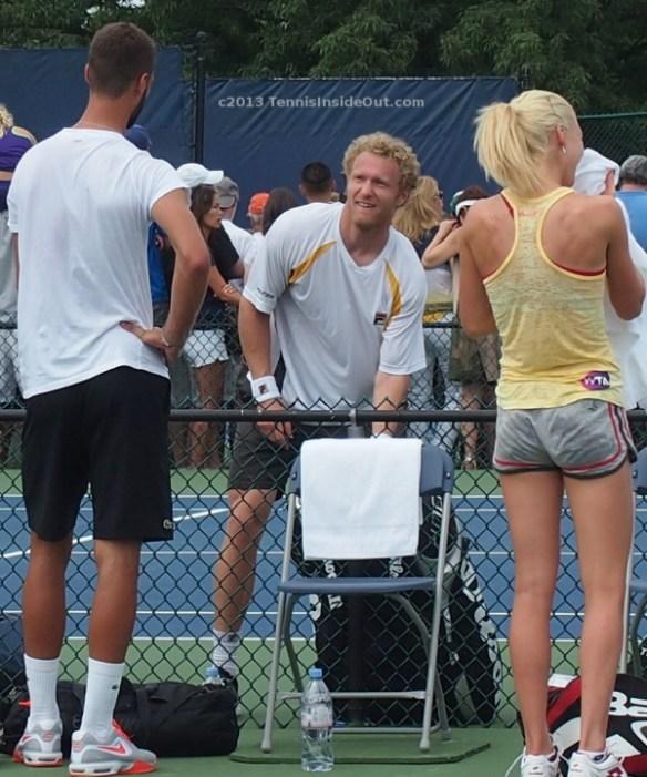 Paire Tursunov Radwanska tennis practice 2013