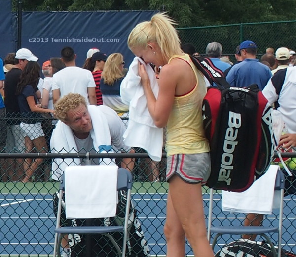 Ula Radwanska laughing hysterically at Dima Tursunov after snog with Benoit Paire practice Cincy 2013