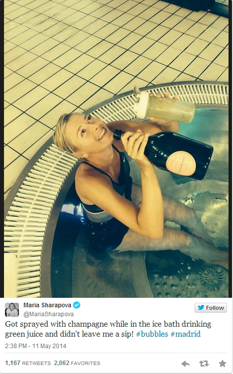 Maria Sharapova Masha ice bath Madrid win drinking champagne green juice water bare legs photos images pictures
