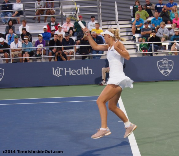 Western and Southern Open Cincy Caroline big forehand Wozniacki floating up ruffled skirt beige shoes Stella