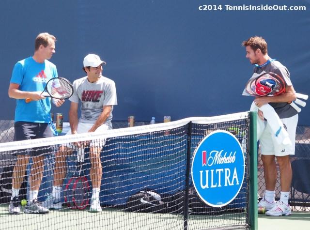 Stefan Edberg Roger Federer Stanislas Wawrinka practice meeting Cincy 2014