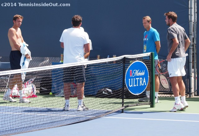 Nico Mahut Stephane Vivier Stefan Edberg Stan Wawrinka chat practice photos pics images Western and Southern Open