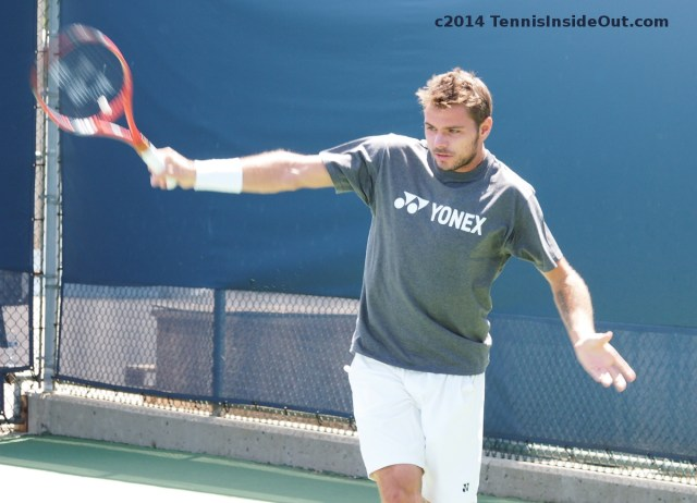Stan Wawrinka backhand practice with Nico Cincinnati Masters US Open series Yonex shirt photos pics
