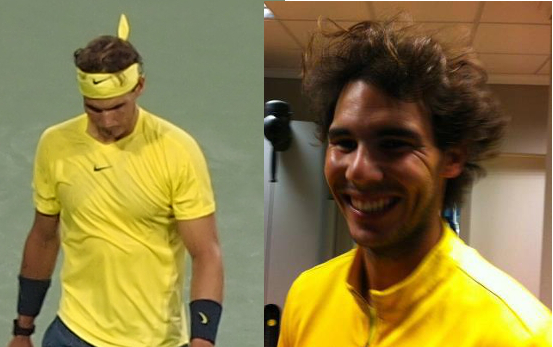 Rafael Nadal yellow shirt headband jacket fluffy crazy hair pics