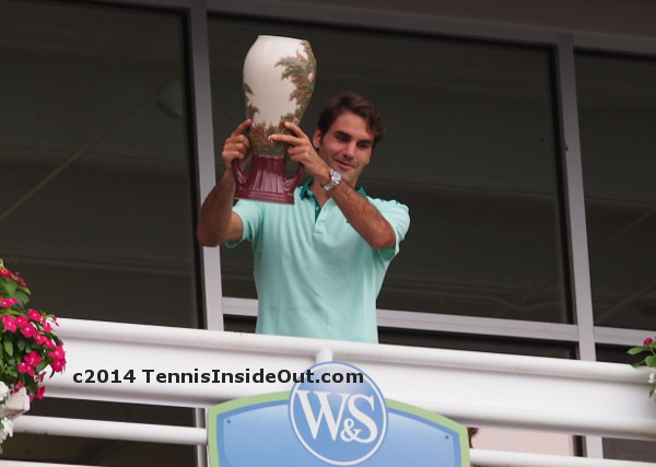 Roger Federer pretending to drop trophy over balcony Cincinnati win champion