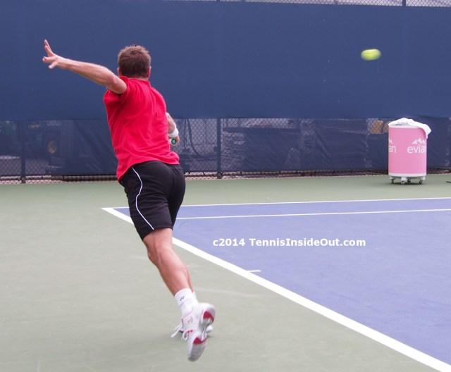 Stan Wawrinka stretching one-handed backhand beautiful sexy ass butt tennis ball skinny left arm