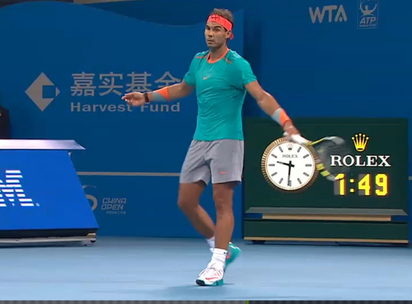 Rafa Nadal arms open wide helpless gesture frustrated wants towel no ball kids Beijing 2014