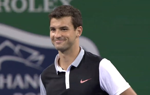 Grigor Dimitrov smile happy pretty sweater vest kit Nike Shanghai 2014 Istomin match