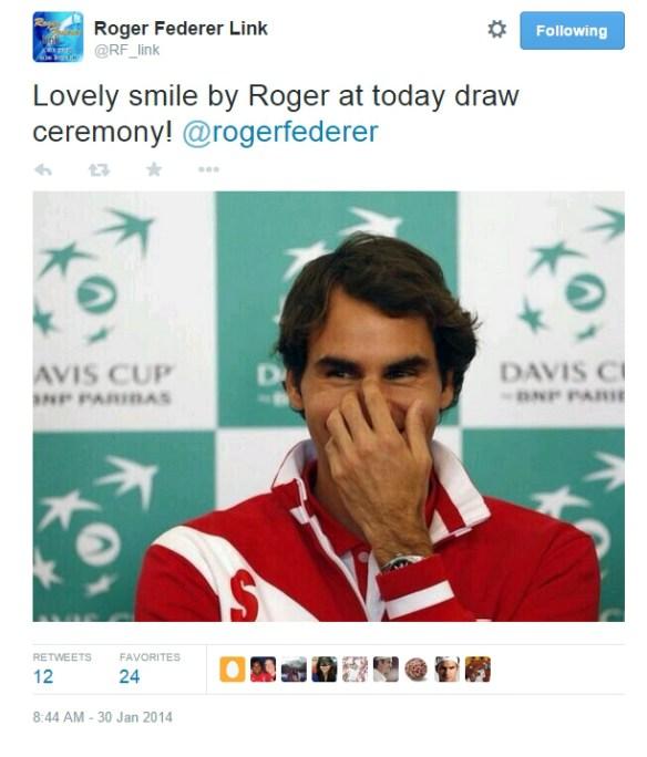 Roger Federer giggling Davis Cup Serbia pics 2014