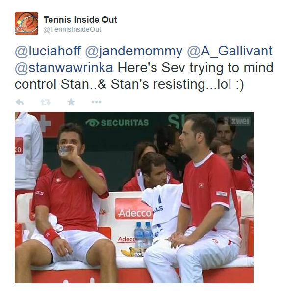 Stan Wawrinka angry Severin Luthi mad argument Davis Cup Golubev match 2014