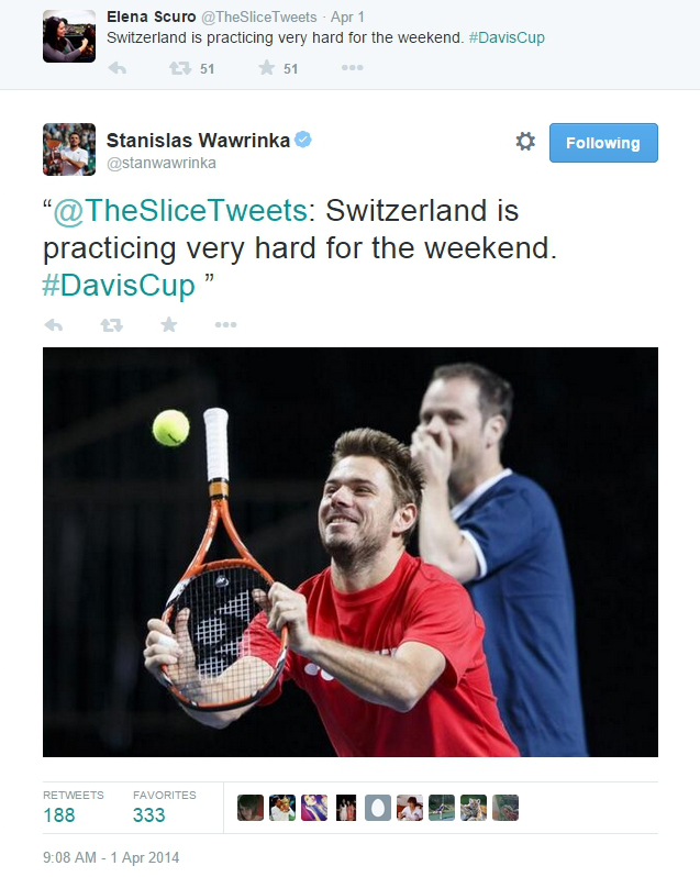 Stan Wawrinka hilarious photo practicing with wrong end of racquet Davis Cup Kazakhstan Sev laughing pics