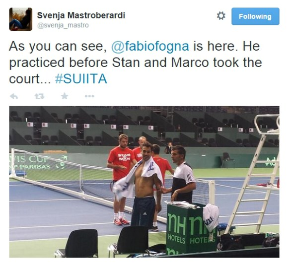Fabio Fognini shirtless Davis Cup practice Geneva Switzerland
