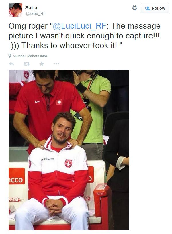 Rog gives Stan a shoulder massage rubs neck Davis Cup Swiss win 2014