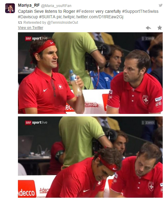 Roger Federer coach Severin Luthi intense discussion Davis Cup Bolelli match Italy Geneva 2014